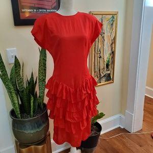 Vintage 80s Drop Waist Red Ruffle Dress